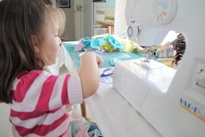 sewing with my daughter