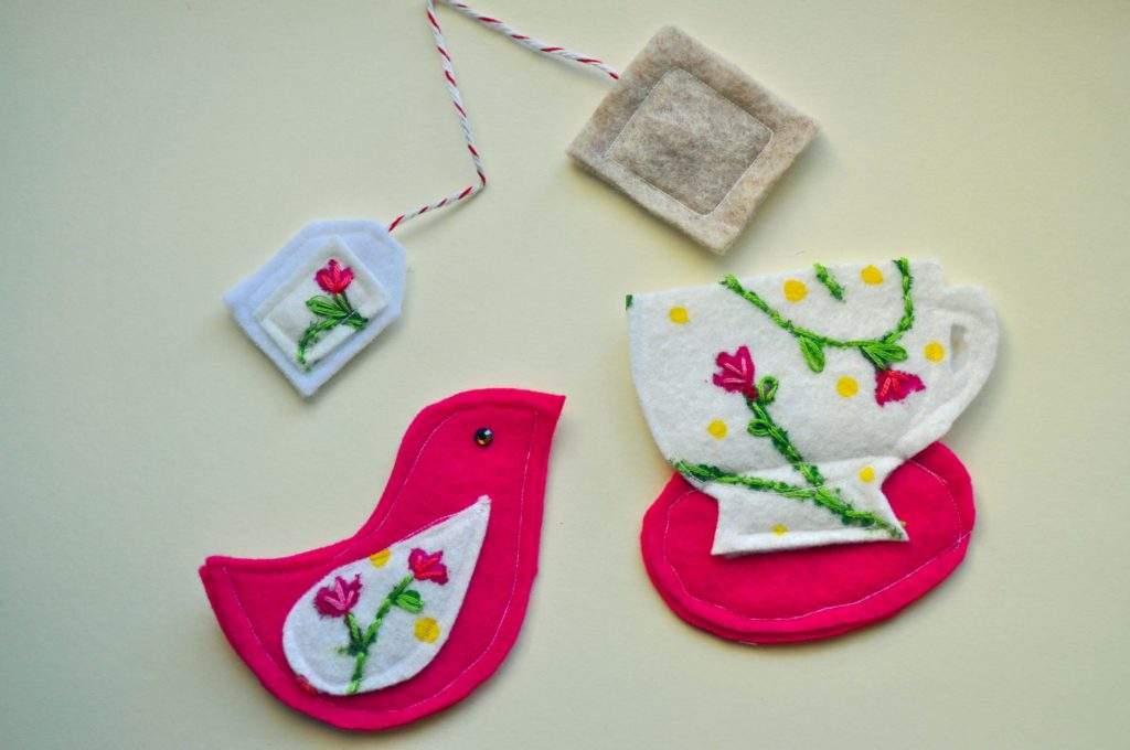 Felt Tea Cup & Birdie by www.laurabraydesigns.com