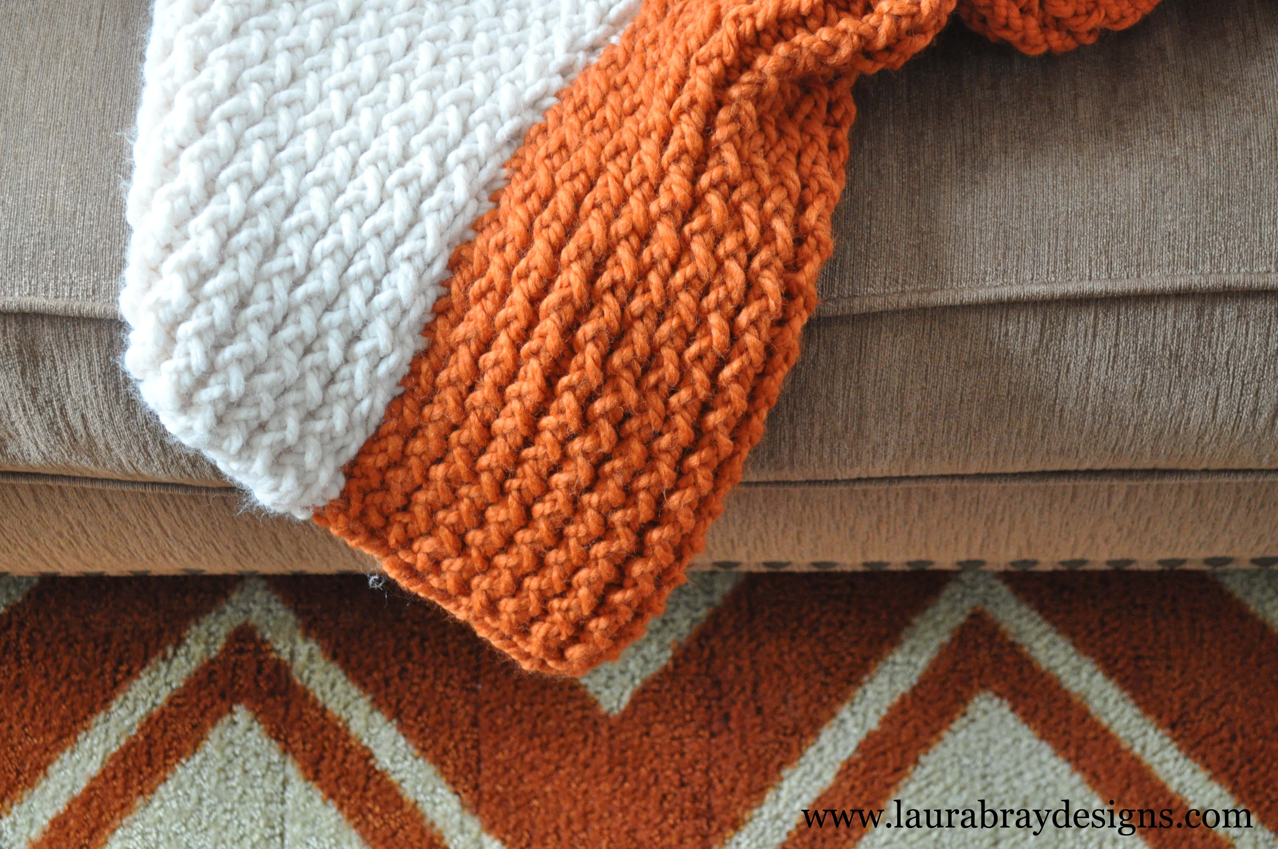 Loom Knitting Blanket Patterns : Pumpkin and Cream Knit Throw - Laura K. Bray Designs