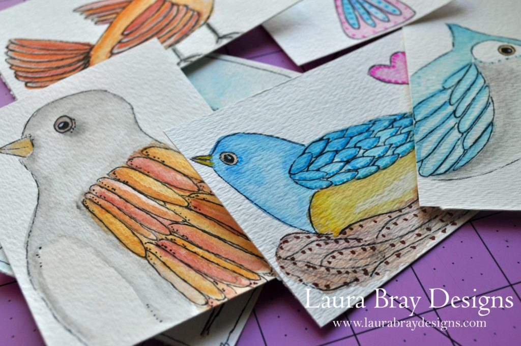 Watercolor Birds by Laura Bray