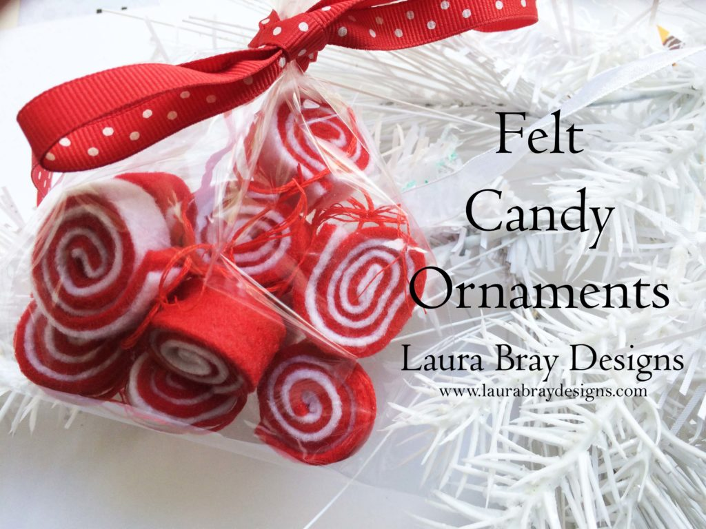 Felt Red and White Candy Ornaments by Laura Bray Designs