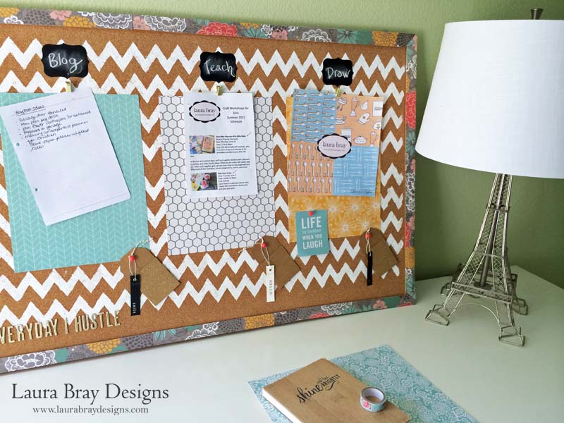 Home Office Organization Corkboard By LauraBrayDesigns.com
