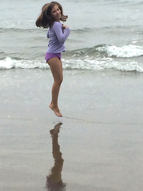 Liv Jumping at Cannon Beach