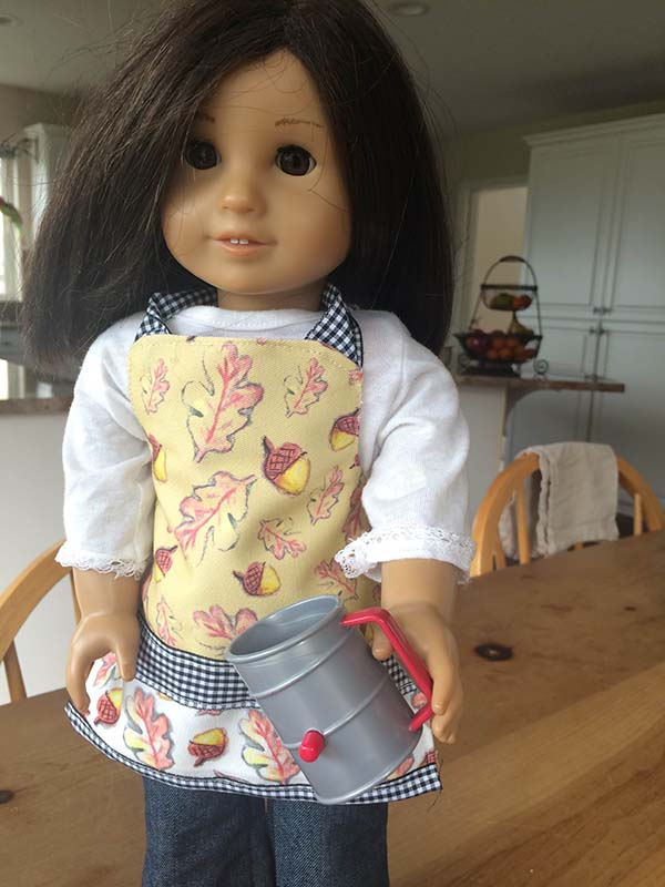 Falling for Fall Doll Apron in Beige